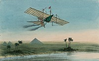 Ariel the first carriage of the Aerial Transit Company was a winged boat or ´carriage ´ flying over the Nile River with pyramids in the background. At...