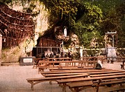 Lourdes, France, The Grotto of Notre Dame, Pyrenees, photochrom, circa 1890s.