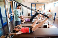Women with pilates instructor