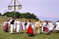 Midsummer celebration/Folk festival with dans. Skane the south of Sweden