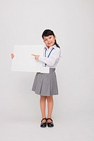 Girl as Office Worker Holding Placard