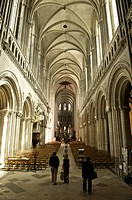 Interior of Notre Dame Cathedral, Norman, built in the 12th and 13th centuries, Bayeux, Calvados, Normandy, France, Europe
