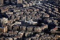 The capital of Syria and city of Damascus in Übersicht, Syria