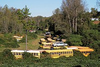 Georgia, Raoul, junkyard, scrapyard, salvage yard, business, vehicle, car, old school bus, wrecked, decommissioned, dismantling, metal parts, stacked,...
