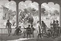 An elephant fight, Baroda, India in the 19th century  From El Mundo en la Mano, published 1878