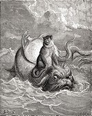 The Monkey and The Dolphin after a work by Gustave Dore for a La Fontaine fable  From Life and Reminiscences of Gustave Dore, published 1885