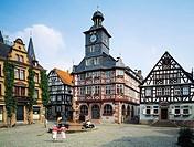 Germany, Heppenheim Bergstrasse, Bergstrasse, Odenwald, Geo nature reserve Bergstrasse-Odenwald, Hesse, market place, half-timbered houses, city hall,...