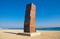 L´Estel Ferit (Wounded Star), sculpture by Rebecca Horn at Platja de Sant Sebastia beach, Barcelona, Catalunya, Spain