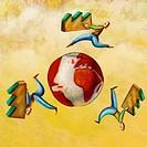 Three men running around the world