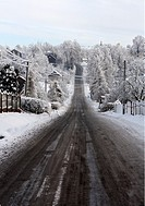 Winter scene, road