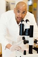 A male researcher in a laboratory, Sweden.