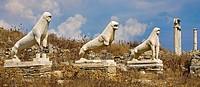 Lion statues  Delos  Cyclades Islands  Greece