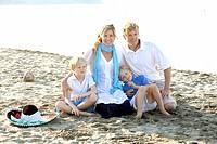portrait of family on beach