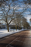 road in winter, whitburn, tyne and wear, england