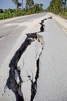 a large crack in the road after the haitian earthquake, port_au_prince, haiti
