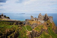 exterior of medieval dunluce castle, county antrim, northern ireland