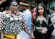 Malaysia, Penang, Thaipusam, Hindu, religious, festival, kavadi bearer,