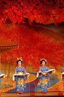 THE CHERRY TREE DANCE PERFORMED BY THE DANCING GEIKOS AND MAIKOS TACHIKATA, MIYAKO_ODORI SHOW AT THE KABURENJO THEATRE OF TRADITIONAL DANCE, GION KOBU...