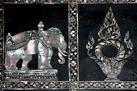DECORATION, MOTHER_OF_PEARL INCRUSTED IN A LACQUERED WOOD PANEL, WAT PHO WAT PHRA CHETUPON OR TEMPLE OF THE RECLINING BUDDHA, BANGKOK, THAILAND, ASIA