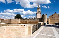 Spain, Castille and Leon, el Burgo de Osma, rampart and bell tower.