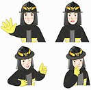 various types of expressions of fireman
