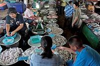 SHRIMP AND SQUID SELLER, FISH MARKET, BANG SAPHAN, THAILAND, ASIA