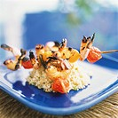 Grilled Shrimp and Vegetable Skewers over Barley
