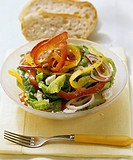 Colourful pepper salad with sheep´s cheese
