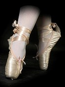 Closeup of the feet of a ballet dancer