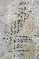 Mathematical operation on an old wall