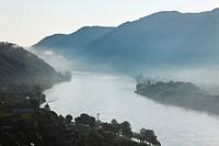 Austria, Lower Austria, Wachau, Waldviertel, View of mountain ranges with danube river