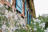 Germany, Kratzeburg, Flowering plants growing near country house