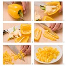 A yellow pepper being deseeded and diced