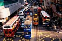 High angle view of traffic on a road, Hong Kong, China