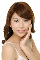 Portrait of a pretty beautiful woman with healthy clear skin _ over white