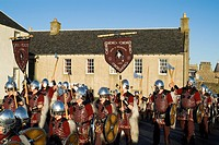 Up Helly Aa procession LERWICK SHETLAND Guizer Jarl Einar of Gullberuviks Viking parading passed Fort Charlotte
