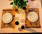 Close_up of a table set for two