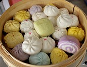 dumplings and colourful buns, chinese delicacy, chinatown , bangkok, thailand
