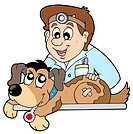 Dog at veterinarian _ isolated illustration.