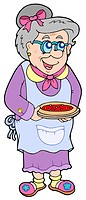 Granny with cake _ isolated illustration.