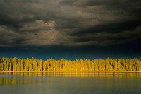 Storm clouds over a lake, South Twin Lake, Deschutes National Forest, Oregon, USA