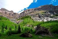 Low angle view of mountains, Yankee Boy Basin, San Juan Mountains, Colorado, USA
