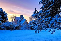 The old gatelodge to St. Anne´s Park, Clontarf, Dublin, Ireland. Early morning, after fresh snowfall.