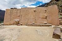 15th century Inca stonework, Wall of the Six Monoliths´ at Ollantaytambo ruins  Ollantaytambo, Peru