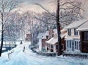 Homes, Brady's Pond, Snow, Staten Island, NY, 1988, Anthony Butera, b.20th C., Oil