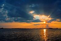 USA, Florida, Jacksonville, Jacksonville Beach, Atlantic ocean at sunset