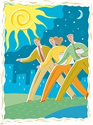 Illustration of three business people