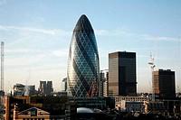 Office buildings in a city, Gherkin, City of London, London, England