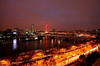Panoramic view of a city, Golden Jubilee Bridge, Thames River, Millennium Wheel, City of Westminster, London, England