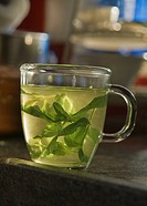 Mint Tea In A Clear Glass Cup